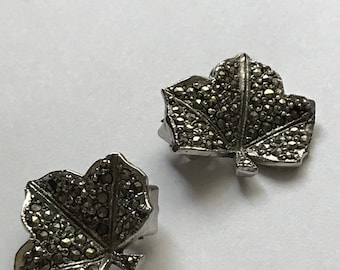 Silver marcasite vintage clip on earrings
