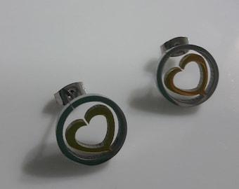Earring Stainless Steel Silver&Yellow.Heart