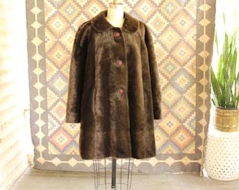 volup vintage fake fur coat, womens size large xl . 60s 1970s coat, knee length shaggy brown ape monkey bear