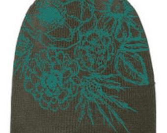 floral print beanie, graphic beanie, hat, screen printed hat, floral beanie, print beanie, free shipping