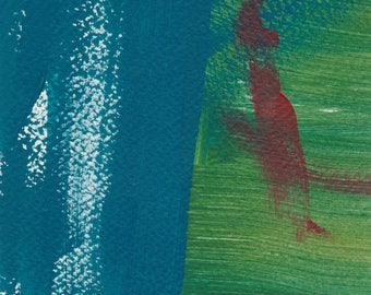 Textures - small acrylic painting in blue. green and dark red.