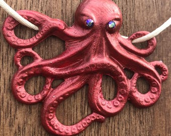 Necklace Rose the Octopus Pendant in Rose Gold  Handpainted