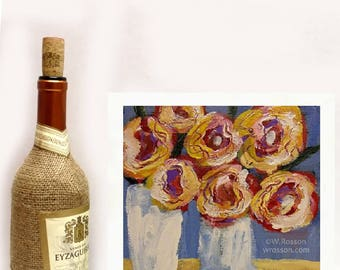 Whimsical Flowers, Ranunculus, White Milk Glass, White Vases, Flower Painting, Winjimir, Original Painting, Original Art, Wall Art, Gift,