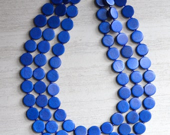 Charlotte - Royal Blue Wood Bridesmaid Statement Necklace