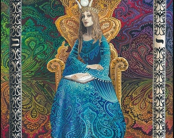 The High Priestess Original Painting Tarot Card Psychedelic Art Psychic Goddess Fortune Teller Acrylic on Canvas