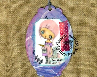 Bookmark, Girl with Unicorn, Fantasy, Mixed Media, Laminated Bookmark, gift for readers, bookmark for girl, small art, hand colored, ooak