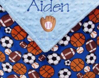 Sport theme blanket etsy sports theme baby gift baby boy lovie monogram minky custom baby shower gift negle Choice Image