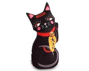 Black Lucky Cat cushion - throw pillow -maneki neko cat plush homewares housewares cute kawaii