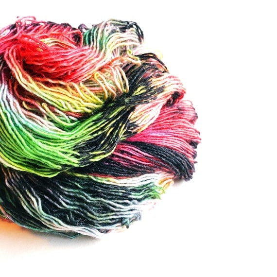 BAD SANTA hand dyed yarn multi speckle sparkle yarn / superwash merino wool sock yarn / single yarn / sock yarn / black red green pink
