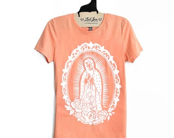Fitted 2XL- Peach Crew Neck Top with Frida Kahlo Screen Print