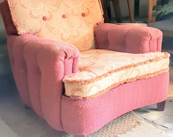 Vintage Pink Plush Floral Upholstered Armchair with wooden legs shabby Cottage chic country farmhouse