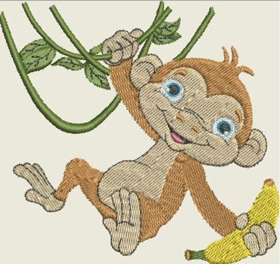 Embroidery Pattern - Swinging Monkey