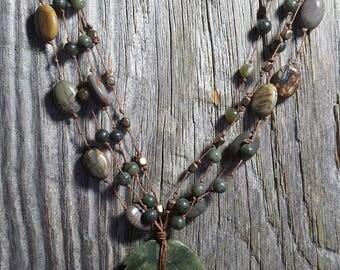Green Leaf Jasper and Jade Necklace