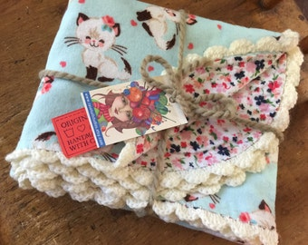 Handmade, Soft, Flannel, Reversible Baby Blanket with Crochet Edging Siamese Kittens