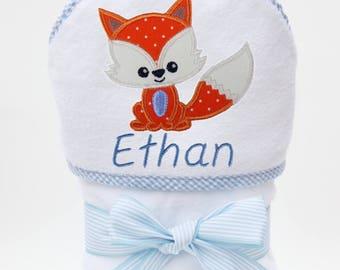 Fox Baby Boy Towel, Baby Bath Towel, Personalized Baby Towel, Monogrammed Bath Towel, Fox Baby Gift, Baby Boy, Toddler Boy Towel