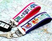 Key Fob Keychain Wristlet | Grey RV Airstream or Bright Vintage Campers