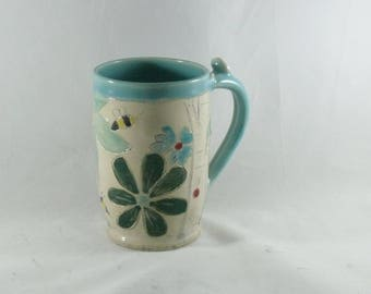 Save the Bees Coffee Mug, Handmade Ceramics and Pottery Mug, Bumblebee ceramic coffee cup, ceramic tea cup, stoneware teacup 915