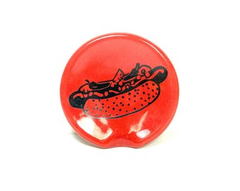 handle-less spoon rest / spoon dish with a Chicago hot dog print in Berry Red READY TO SHIP