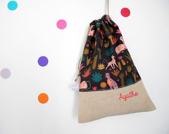 Customizable drawstring pouch - cuddly toy bag - name - kindergarden - panthers - trees - purple - kaki - pink - slippers or toys bag