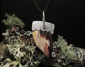 N1548 Petrified Wood Pendant Necklace Sterling Silver Deerskin 925 Clasp Handmade