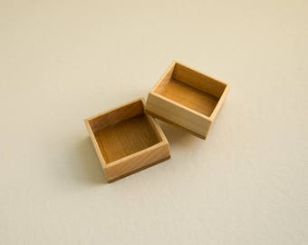Deep hardwood shadow box tray inset - Maple and Cherry - 25.5 mm cavity side - (F4d-MpC) - Set of 2