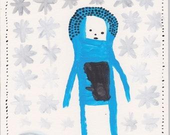 Original painting - Blue Guy in Snow