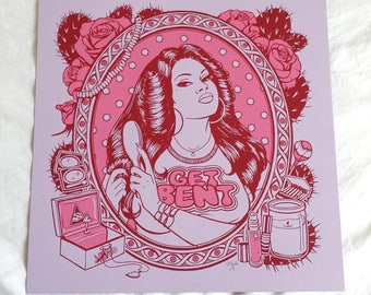 Rosie Art Prints 12.5x12.5 / Get Bent / Hand Screenprinted Silkscreen Pink Purple Lavender / Feminist Art Gift