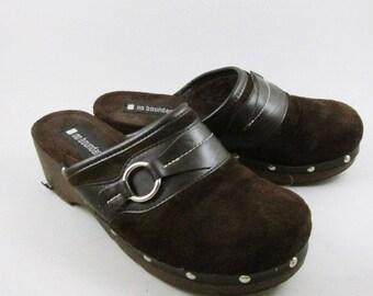 Vintage 90's Platform Clogs Womens Size 8 No Boundaires Shoes Brown Women's
