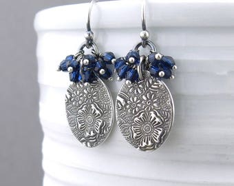 Boho Earrings Women Beaded Jewelry Navy Blue Earrings Silver Drop Earrings Cluster Earrings Boho Jewelry Unique Gift for Her - Lily
