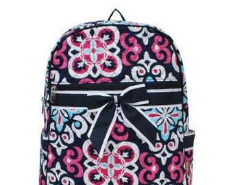 Personalized Backpack - Embroidered Backpack - Damask Floral Backpack - Monogrammed Quilted Backpack Diaper Bag Includes Monogram