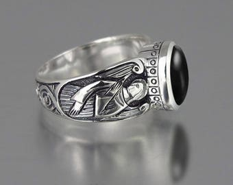 Guardian Angels silver ring with black Onyx  (sizes 5 to 8.5)
