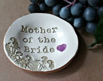Mother Of Bride Gift Made To Order  edged in gold trinket dish