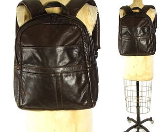 80s Brown Leather Backpack / Vintage 1980s 90s Distressed Worn in Leather Rucksack with Pockets / Boho Rocker Grunge Hipster Book Bag