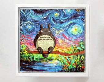 My Neighbor Totoro inspired Art FRAMED CANVAS print van Gogh Never Met His Neighbor starry night Aja wall decor choose size and frame