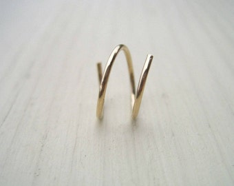 Gold Two-In-One Hoop  - 14k gold filled cartilage earring