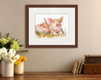 Original animal art | farm animals | watercolor pig | pig painting | pink | country decor | watercolor painting | pig art
