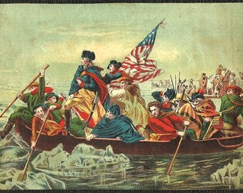 Antique Print George Washington Crossing the Delaware Revolutionary War Furled American Flag Lithograph Found Art Print to Reframe