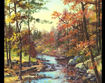 Autumn Day Stream Hickory Run State Park Pennsylvania 1961 Vintage Nature Art Photo Print Art Illustration Home Decor Wall Art Collectible