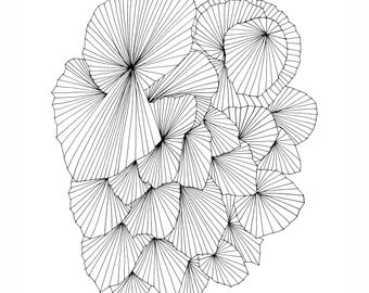 A Fan of a Fan Abstract Fine Art Archival Print of Original Pen and Ink Drawing