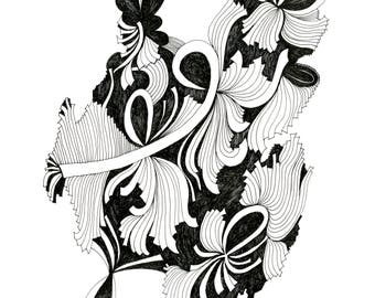Ribbons Fine Art Archival Print of Original Pen and Ink Drawing
