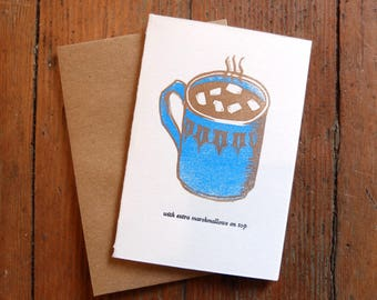 Hot Cocoa Winter Holiday letterpress linocut greeting card