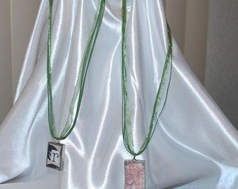 18 to 19 inch ((( LIGHT GREEN ))) Organza Voile Ribbon with Waxed Cords. Silver Lobster Clasp  Comes in small zip lock you can use .