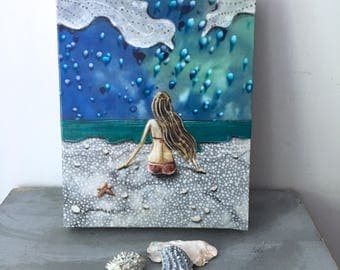 Beach decor, gifts for her, ocean lover, teal sea, Boho chic decor, window to her soul, shellieartist, Original artwork, mixed media art