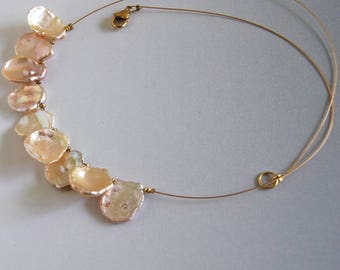 Floating Pearl Necklace Keshi Pearl Pink Keshi Bridal Necklace Petal Pearl Natural Freshwater Pearl Pink Bridal Pearl Cornflake Pearls