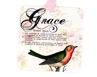 Grace definition Tags, Bird Gift Tags, Pink Roses Background, Vintage Bird, Birthday Tags, Seam Binding Ties, Bluebird Lane Tags