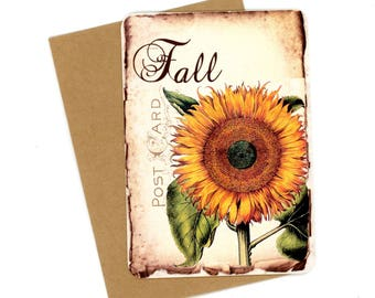 Fall Flat Cards, Sunflower Note Cards, Autumn Cards, Postcard Type, Vintage Flower, Shabby Cards, Rustic Sunflower, Bluebird Lane Cards
