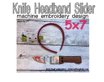 Knife Headband Slider Machine Applique Embroidery design ITH In The Hoop cosplay goth halloween