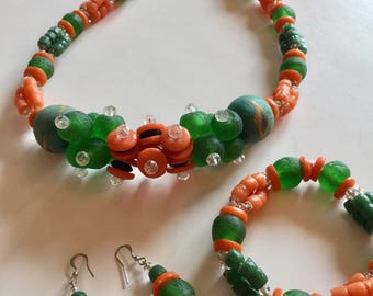 African beads,  African jewelry set African Krobe bead Necklace African recycled glass jewelry Fair  Trade African necklace African bracelet