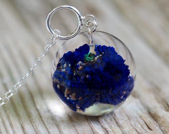 Large Mineral Azurite Resin Necklace with Silver Chain, Mineral Semi Precious Gemstone, Botanical Jewelry,Natural Jewelry