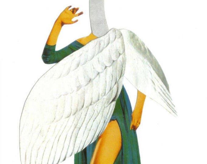 White Swan Collage Art, Bird Artwork